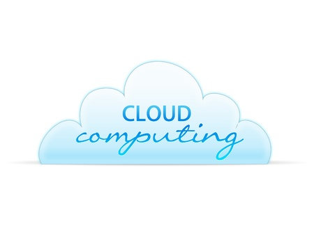 High resolution graphic of a cloud computing graphic on white background. photo