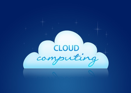 High resolution graphic of a cloud computing graphic on blue background. photo