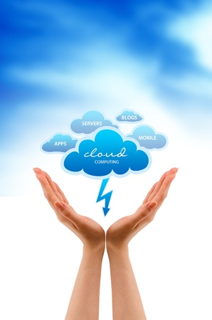 High resolution graphic of hands holding serveral clouds. Stock Photo - 9836394