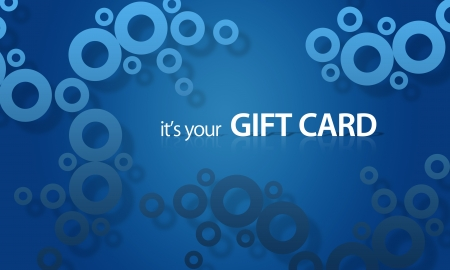 High resolution gift card graphic with blue objects ready to print.