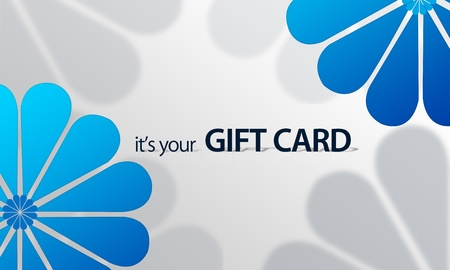 High resolution gift card graphic with blue floral elements ready to print.