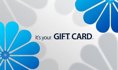 geschenkgutschein: Hochaufl�sende Grafik-Geschenkkarte mit blauen floralen Elementen zum Drucken bereit.