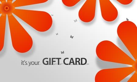Hoge resolutie gift card grafisch met oranje bloemen elementen klaar om af te drukken.