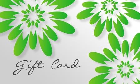 Hoge resolutie gift card afbeelding met groene bloemen elementen klaar om te printen. Stockfoto