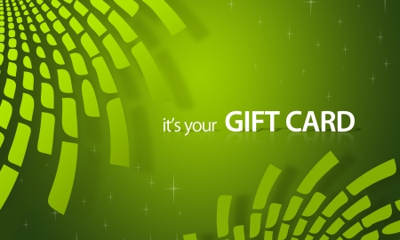High resolution gift card graphic with green elements ready to print.
