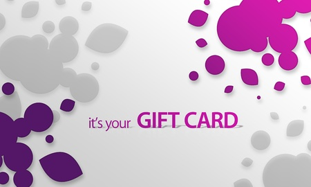 High resolution gift card graphic with pink purple elements ready to print.