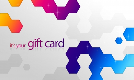bonus: High resolution gift card graphic with rainbow elements ready to print. Stock Photo