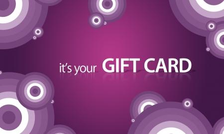 geschenkgutschein: Hochaufl�sende Grafik-Geschenkkarte mit violetten Elementen zum Drucken bereit.