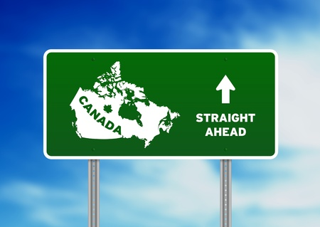 High resolution graphic of a green canada highway sign on Cloud Background. Stock Photo - 9922522