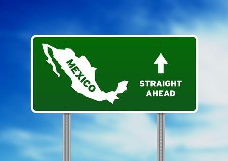 mexiko karte: Hochaufl�sende Grafik eines gr�nen Mexiko Autobahn Zeichen auf Wolke Hintergrund.