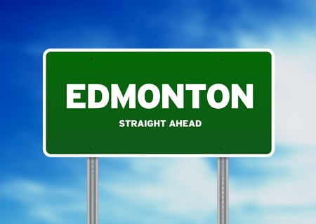High resolution graphic of a edmonton highway sign on Cloud Background.  photo