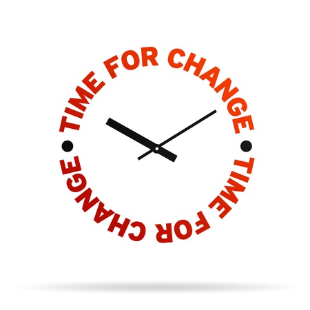 High resolution clock with the words time for change on white background. Archivio Fotografico