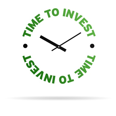 timing the market: High resolution clock with the words time to invest on white background. Stock Photo
