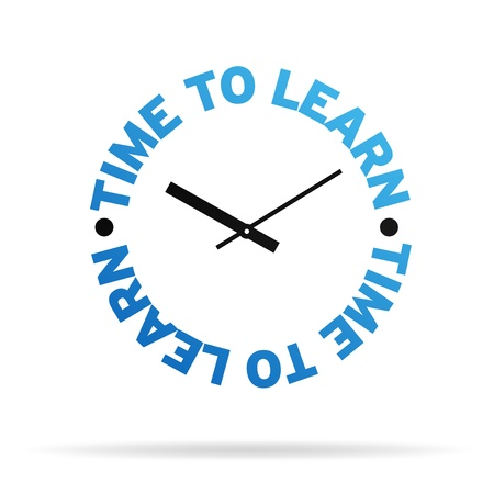 instruct: High resolution clock with the words time to learn on white background.