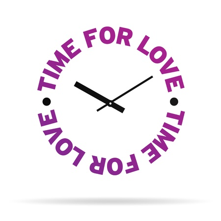 High resolution clock with the words time for love on white background.