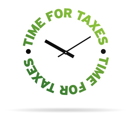 deadline: High resolution clock with the words time for taxes on white background. Stock Photo