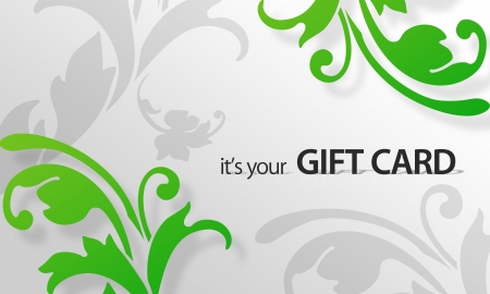 High resolution gift card graphic with green floral elements ready to print.