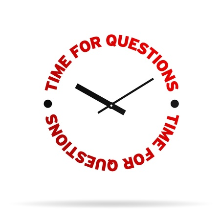 High resolution clock with the words time for questions on white background.