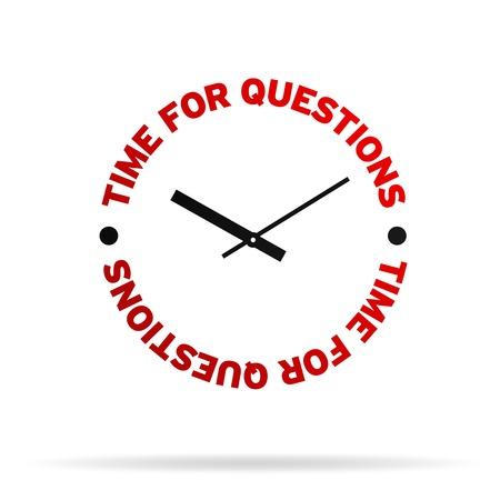 Hoge resolutie klok met de woorden: tijd voor vragen op een witte achtergrond. Stockfoto