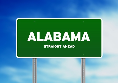 High resolution graphic of a alabama green highway sign on Cloud Background.  photo