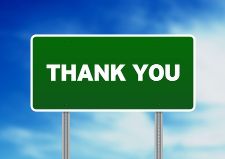 High resolution graphic of a green thank you highway sign on Cloud Background.  photo