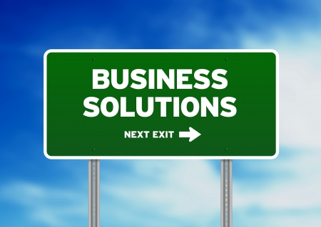 solution concept: High resolution graphic of a Business Solutions highway sign on Cloud Background.  Stock Photo
