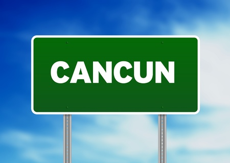 highway sign: High resolution graphic of a cancun highway sign on Cloud Background.