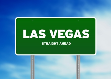 nevada: High resolution graphic of a las vegas highway sign on Cloud Background.  Stock Photo