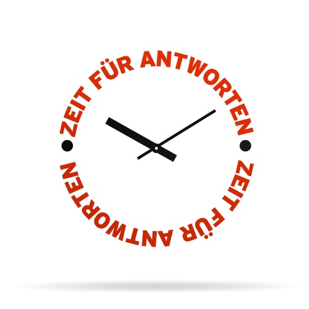 High resolution clock with the words time for answers on white background. photo