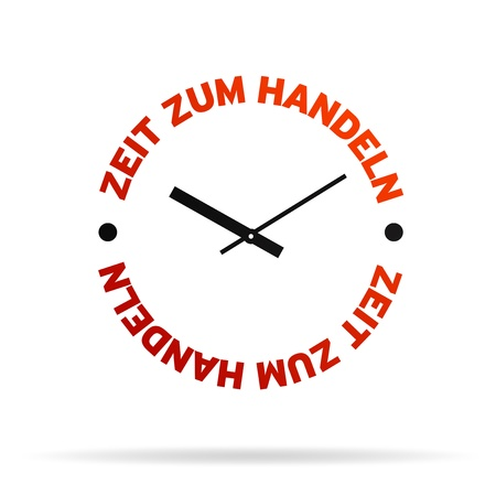 High resolution clock with the words time for action on white background. photo