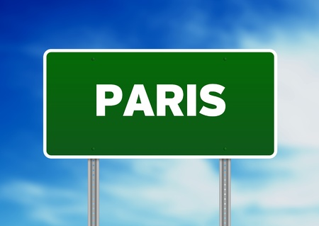 High resolution graphic of a Paris highway sign on Cloud Background.  photo