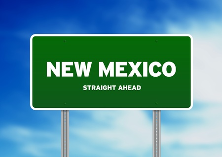 High resolution graphic of a New Mexico highway sign on Cloud Background.  photo