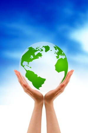 Hands Holding  A Globe on cloud background. Stock Photo - 9922564