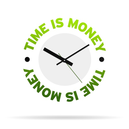 time account: Clock with the words time is money on white background.