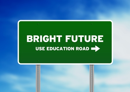 bright future: Green Bright Future Highway Sign on Cloud Background.  Stock Photo