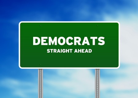 legislators: Green Democrats Highway Sign on Cloud Background.  Stock Photo