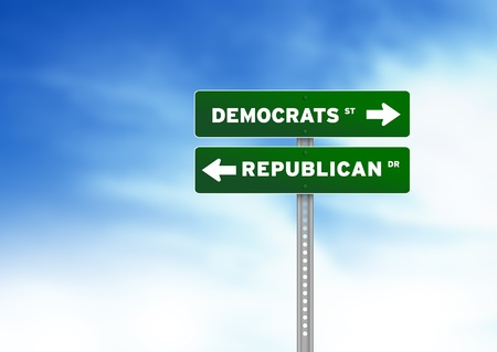 legislators: Green Democrats and Republican Road Sign on Cloud Background