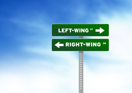 rightwing: Green Left-Wing & Right-Wing Road Sign on Cloud Background