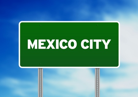 Green Mexico City highway sign on Cloud Background.  photo