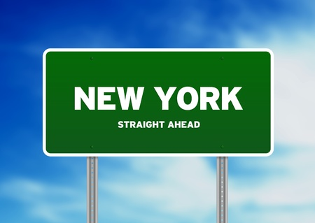 Green New York, USA highway sign on Cloud Background.  photo