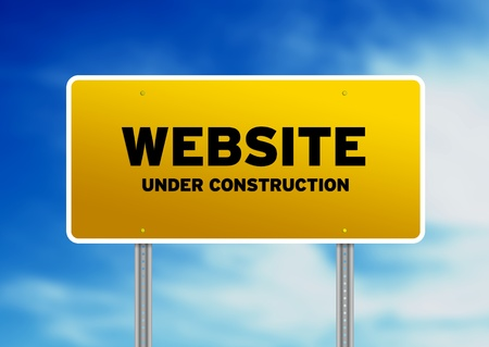 Yellow Website Under Construction highway sign on Cloud Background.  photo
