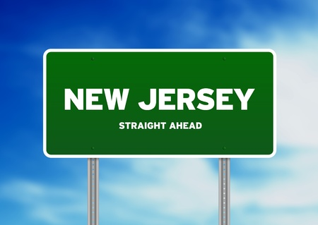 Green New Jersey, USA highway sign on Cloud Background.  photo