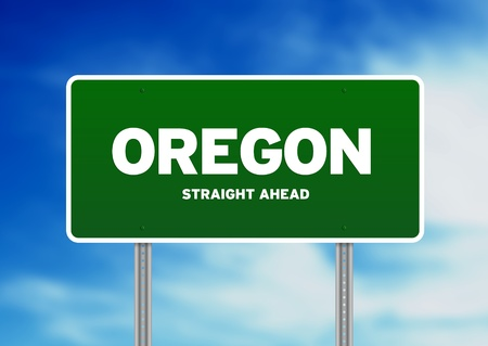 Green Oregon, Portland highway sign on Cloud Background.  photo