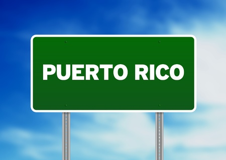 Green Puerto Rico highway sign on Cloud Background.