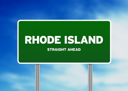highway sign: Green Rhode Island, USA highway sign on Cloud Background.