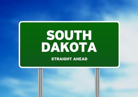 highway sign: Green South Dakota, USA highway sign on Cloud Background.