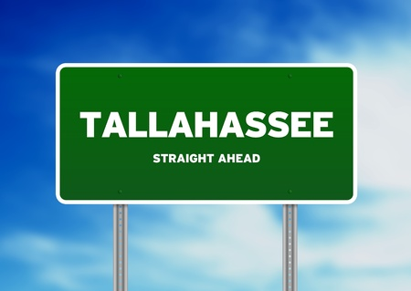 tallahassee: Green Tallahassee, Florida, USA highway sign on Cloud Background.