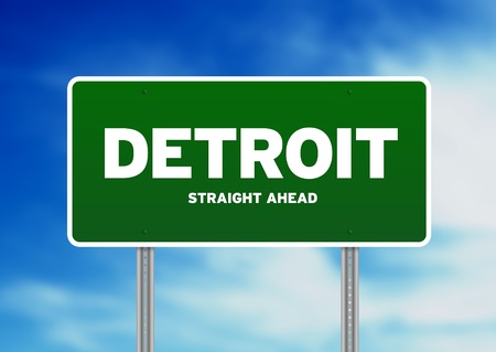 michigan: Green Detroit, Michigan, USA highway sign on Cloud Background.  Stock Photo