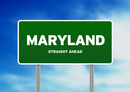 Green Maryland, USA highway sign on Cloud Background.  photo