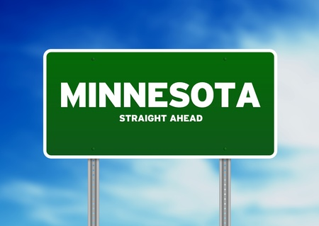 highway sign: Green Minnesota, USA highway sign on Cloud Background.  Stock Photo